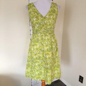Boden US 6 V Neck Cotton Dress Green Starburst